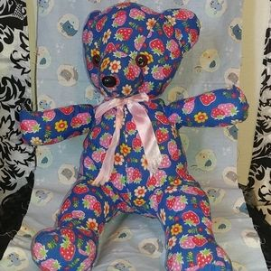 Strawberry patterned bear 14 inches